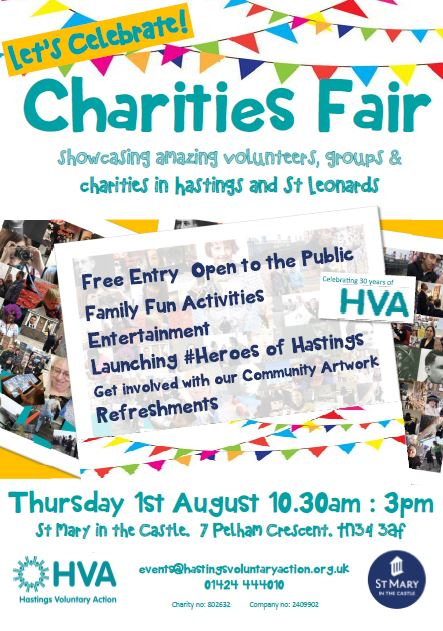 HVA is celebrating the start of its 30th year by organising aFREE family friendly event showcasing Hastings & St Leonard's amazing volunteers, groups and charities.  Thursday August 1st 10.30am - 3pm, St Mary in the Castle  If you are an organisation or group and want to book a place for your display please contact Kim events@hastingsvoluntaryaction.org.uk
